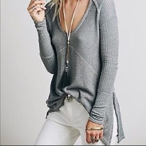 Free People | Ventura Gray Waffle Knit Thermal Top